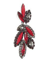 Elizabeth Cole Red Hematiteplated Swarovski Crystal Earrings