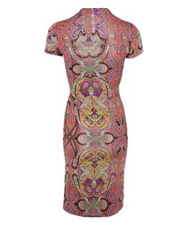 Etro Red Paisley V-neck Jersey Dress