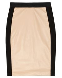Mason by Michelle Mason White Leather and Ponte Pencil Skirt