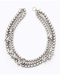 Ann Taylor - Metallic Pearlized Layered Flower Necklace - Lyst