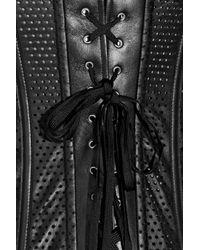 La Perla - Black Leather and Lace Paneled Corset - Lyst