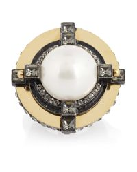 Lanvin White Crystalembellished Glass Pearl Ring