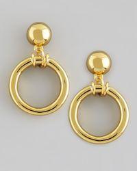 Tory Burch Metallic Doorknocker Earrings Golden