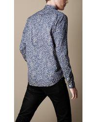 Burberry Brit Blue Buttondown Floral Shirt for men