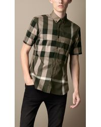 Burberry Green Exploded Check Cotton Shirt for men