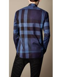 Burberry Blue Giant Exploded Check Cotton Shirt for men