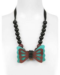 Marni | Brown Bow Resin Pearls Necklace | Lyst