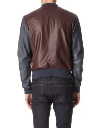Paul Smith Brown Leather Bomber Jacket for men