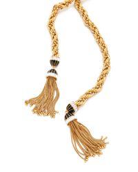 Rachel Zoe Metallic Long Tassel Necklace
