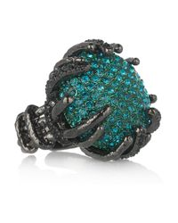 Roberto Cavalli | Metallic Rhodium-Plated Swarovski Crystal Ring | Lyst