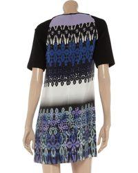 Tibi Blue Jude Printed Silk and Jersey Dress