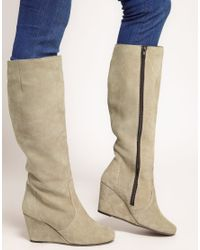 ASOS - Natural Chester Suede Wedge Knee High Boots - Lyst