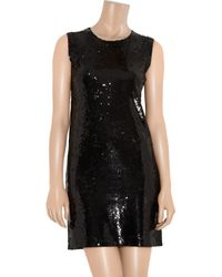 Donna Karan Black Sequined Cashmere and Silk-blend Dress