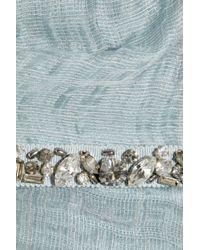 Lela Rose Blue Embellished Woven Organza Dress