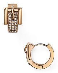Michael Kors - Metallic Pave Buckle Huggie Earrings - Lyst