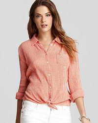 C&C California - Orange Shirt Tie Front Gingham Shirt - Lyst