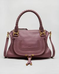 Chloé | Dark Purple Pebbled Calfskin Marcie Shoulder Bag | Lyst