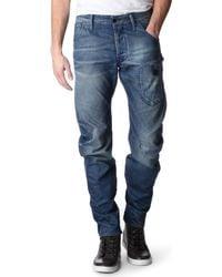 G-Star RAW Blue Biker Arc 3d Loosefit Tapered Jeans for men