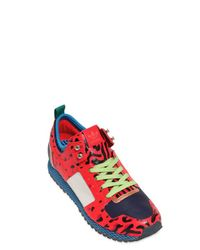 Opening Ceremony Red New York Leopard Print Leather Sneakers for men