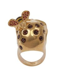 Alexander McQueen - Metallic Goldred Crystal Bee and Skull Cocktail Ring - Lyst