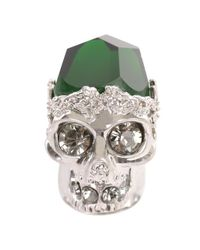 Alexander McQueen | Metallic Silver Emerald Stone Skull Cocktail Ring | Lyst