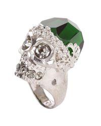 Alexander McQueen | Metallic Silver Emerald Stone Skull Cocktail Ring | Lyst