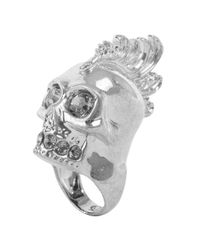 Alexander McQueen - Metallic Baroque Punk Skull Cocktail Ring - Lyst