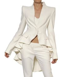 Alexander McQueen   White Leaf Viscose Crepe Flared Trousers   Lyst