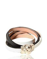 Alexander McQueen White Skull Nappa Leather Bracelet