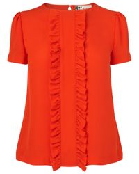 Boutique by Jaeger Boutique By Jaeger Molly Frill Silk Blouse Bright Orange