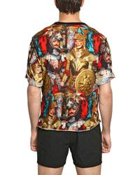 Dolce & Gabbana Blue Carretto Siciliano Print Polo Shirt for men