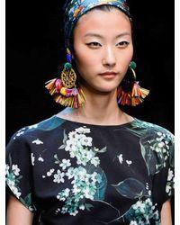 Dolce & Gabbana - Multicolor Pom Pom Raffia Clip On Earrings - Lyst