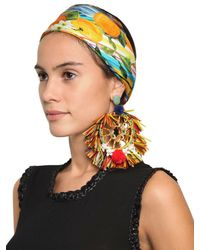 Dolce & Gabbana | Multicolor Pom Pom Raffia Earrings | Lyst