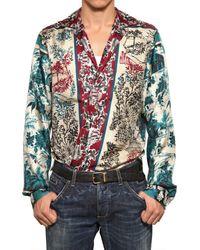 Dolce & Gabbana Red Printed Silk Shirt for men