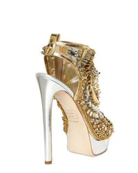 DSquared² | Gold 150mm Laminated Leather Beaded Sandals | Lyst