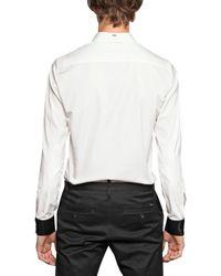 DSquared² White Patent Pvc Cuffs Cotton Poplin Shirt for men