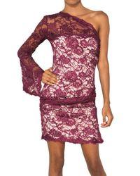 Emilio Pucci Purple Lotus One Shoulder Lace Dress