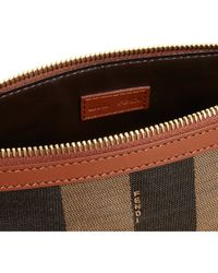 Fendi Brown Large Pequin Stripe Cosmetic Pouch
