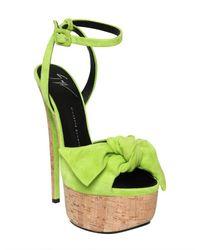 Giuseppe Zanotti - Green Bow Platform Suede Sandal Heel - Lyst