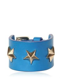 Givenchy Blue Triple Stars Leather Cuff Bracelet for men