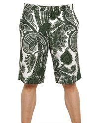 Givenchy Green Paisley Print Bermuda Short for men