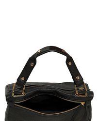 Golden Lane - Black Medium Perforated Leather Duo Satchel - Lyst