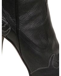 Lanvin | Black 130mm Embroidered Leather Boots | Lyst