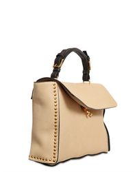 Marni | Natural Studded Brushed Leather Top Handle | Lyst