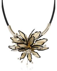 Marni White Horn and Leather Flower Necklace