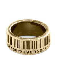 ModCloth | Metallic Up To Barcode Ring in Gold | Lyst