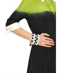 Boutique Moschino Black Two Tone Resin Pearls Five Bracelets Set