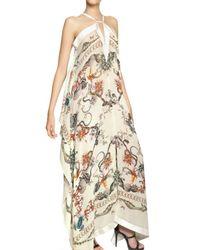 Roberto Cavalli - Natural Printed Silk Georgette Long Kaftan Dress - Lyst