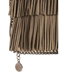 Stella McCartney Natural Fringed Faux Suede Fold Over Clutch