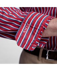 Thomas Pink Red Casual Winger Stripe Shirt for men